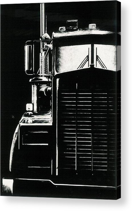 Vehicle Acrylic Print featuring the drawing Semi by Barbara Keith