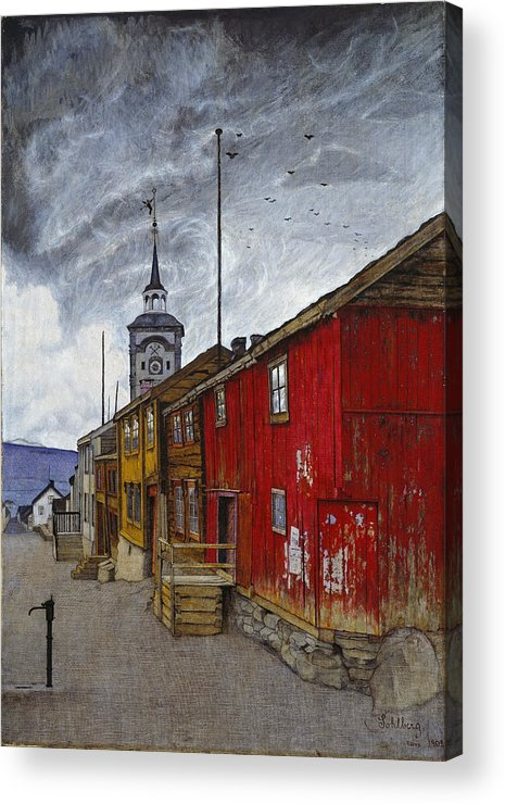 Harald Sohlberg Acrylic Print featuring the painting Street In Roros by Harald Sohlberg
