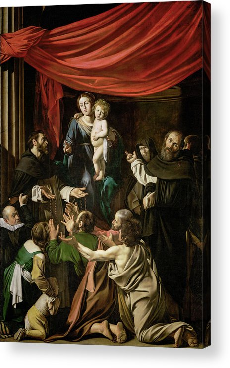Amerighi Acrylic Print featuring the painting Madonna Of The Rosary by Caravaggio