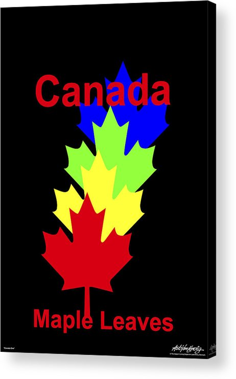 Acrylic Print featuring the digital art Maple Leaves by Asbjorn Lonvig