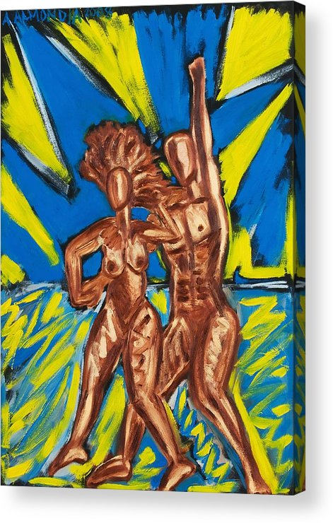 Figure Acrylic Print featuring the painting 2 Nude Dancers by Albert Almondia