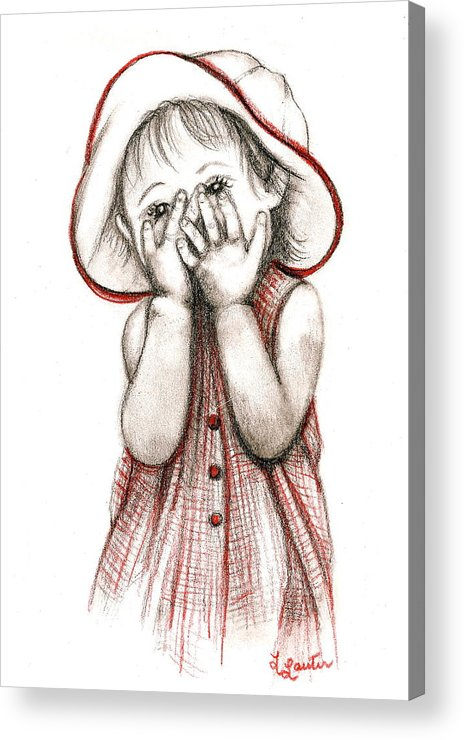 Child Portraits Acrylic Print featuring the drawing Peek A Boo by L Lauter