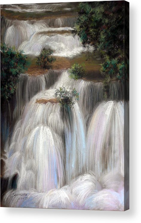Pastel Acrylic Print featuring the painting Thai Landscape by Chonkhet Phanwichien