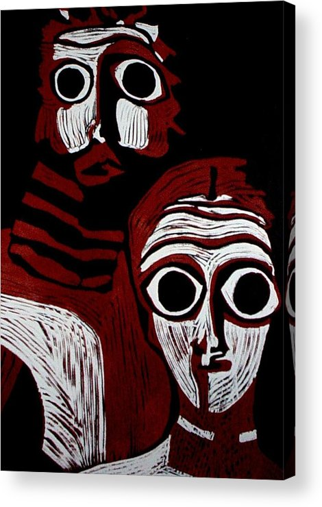 Linoleum Print Acrylic Print featuring the mixed media A Match Made by Patricia Bigelow