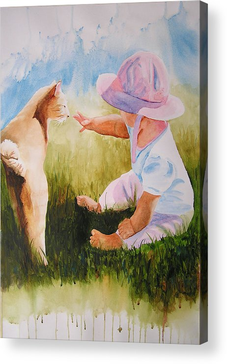 Baby Acrylic Print featuring the painting Abbie's Kitty by Karen Stark