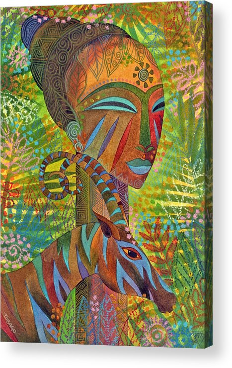 Exotic Jungle African Mask Tropical Antelope Acrylic Print featuring the painting African Queens by Jennifer Baird