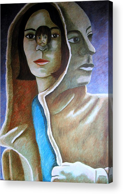 Identity (symbolic Art) Acrylic Print featuring the painting Am I The Child I Used To Be Or The Woman I Am Now by Tanni Koens