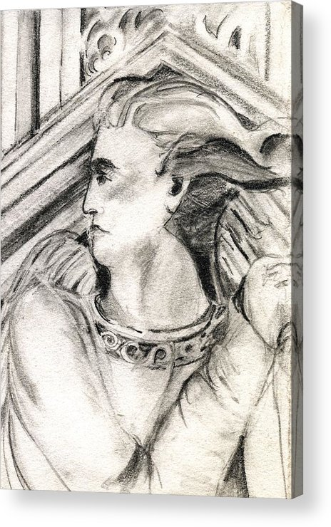 Drawing Acrylic Print featuring the drawing Angel Of Orieveto Italy by Mindy Newman