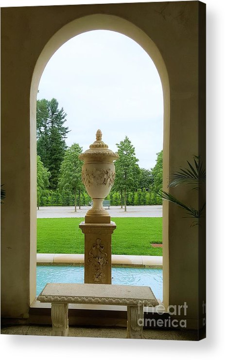 Minimalism Acrylic Print featuring the photograph Archway Window To The Garden by Jessica T Hamilton