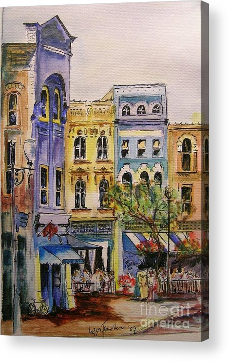 Townhouses Acrylic Print featuring the painting Asheville by Lizzy Forrester