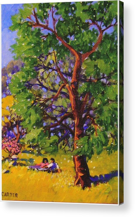 Trees Acrylic Print featuring the painting At The Park by Jonathan Carter
