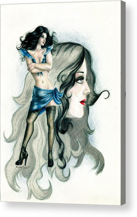 Figure Acrylic Print featuring the drawing Attitude by Scarlett Royal
