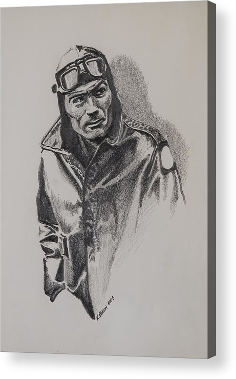 Aviation Acrylic Print featuring the drawing Aviator by Kerry Burch