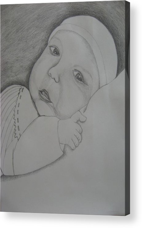Baby Acrylic Print featuring the drawing Baby Girl by Theodora Dimitrijevic