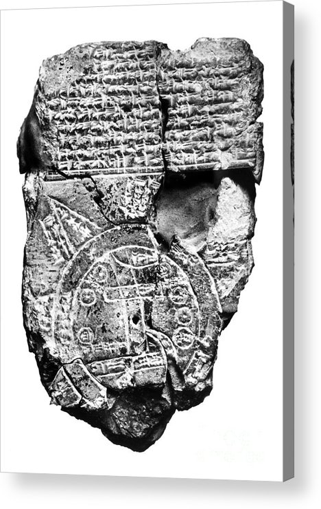 2300 B.c Acrylic Print featuring the photograph Babylonian World Map by Granger