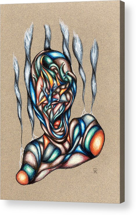 Pain Acrylic Print featuring the drawing Bad Day by Karen Musick