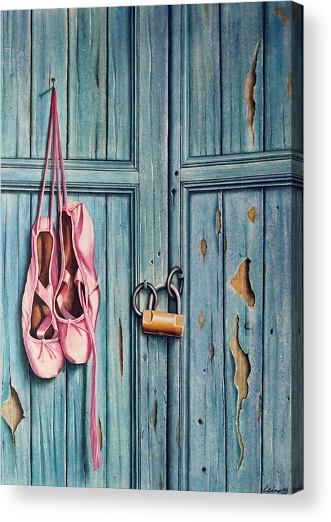 Door Acrylic Print featuring the painting Ballet Shoes by Laine Garrido