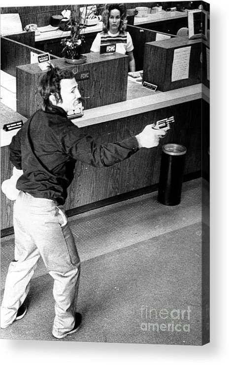 1973 Acrylic Print featuring the photograph Bank Holdup, 1973 by Granger