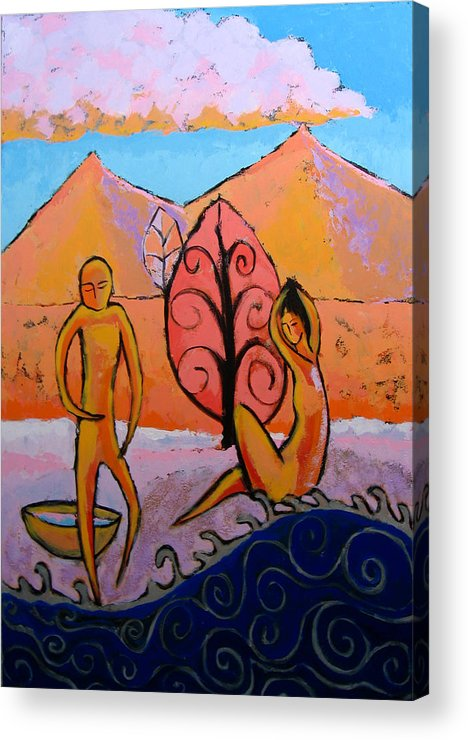 Figurative Acrylic Print featuring the painting Bathers 1 by Aliza Souleyeva-Alexander