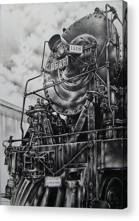 Train Acrylic Print featuring the drawing Beside The Floodwall Mikado 1518 by Michael Lee Summers