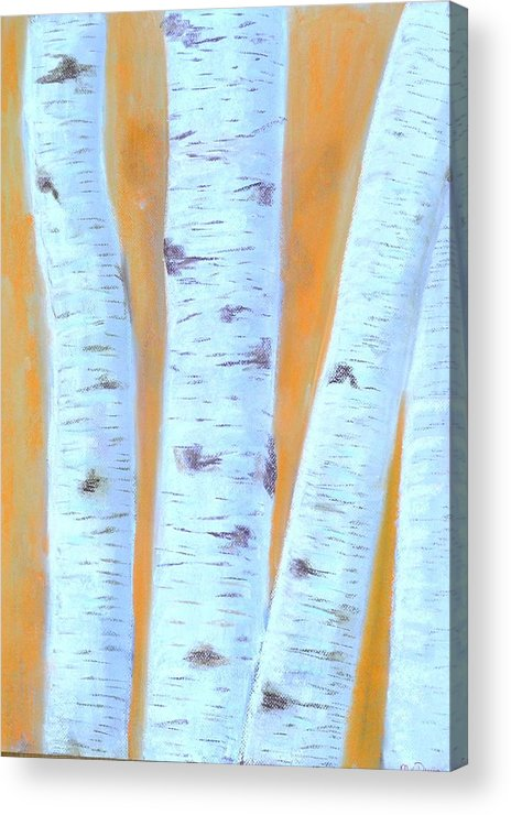 Birches Acrylic Print featuring the pastel Birches #3 by Marian Van Duijn