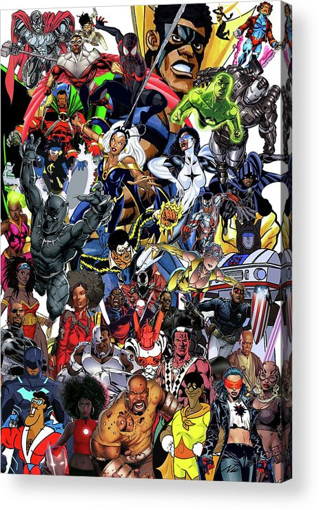 Black Heroes Matter Acrylic Print featuring the mixed media Black Heroes Matter by Nic The Artist