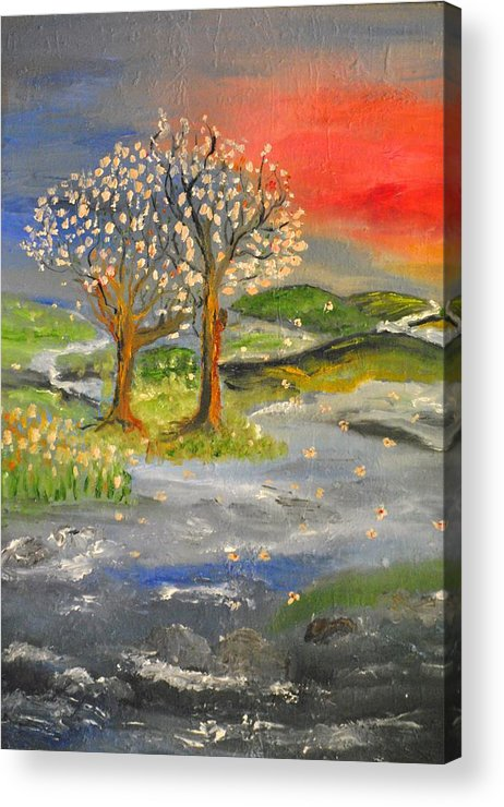Landscape Acrylic Print featuring the painting Blossom Trees by Evelina Popilian