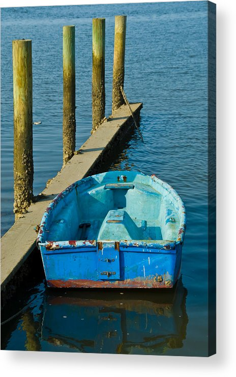 Blue Dinghy Acrylic Print featuring the photograph Blue by Georgia Nick