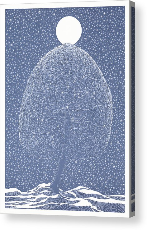 Acrylic Print featuring the drawing Blue Shadow Tree by Charles Cater