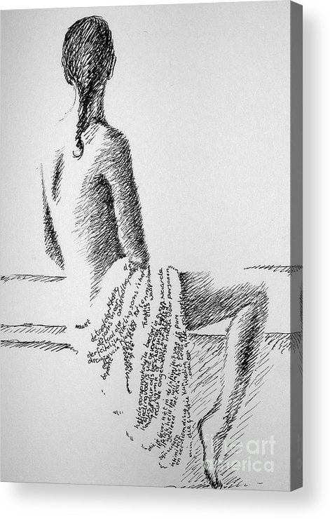 Language Acrylic Print featuring the drawing Body Language by Tanni Koens