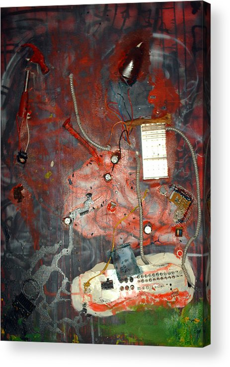 Collage Acrylic Print featuring the painting Brain Surgery by Leigh Odom