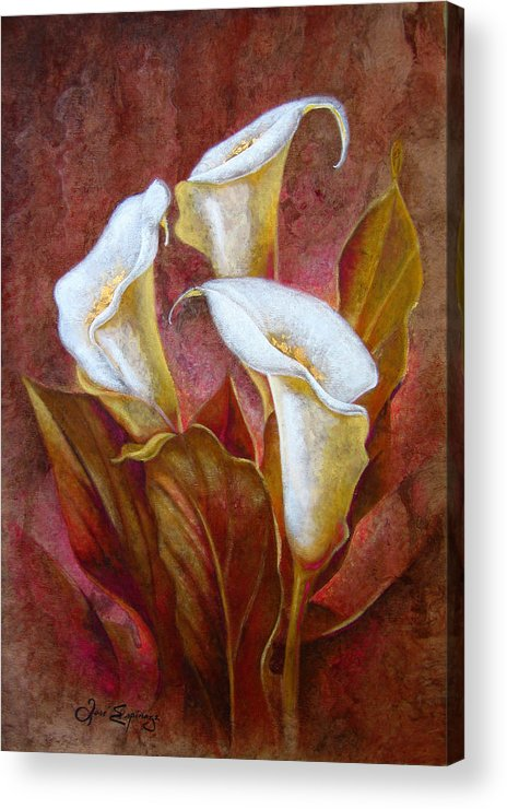 Calla Lillies Acrylic Print featuring the painting C A L A S . B O U Q U E T by J - O  N  E