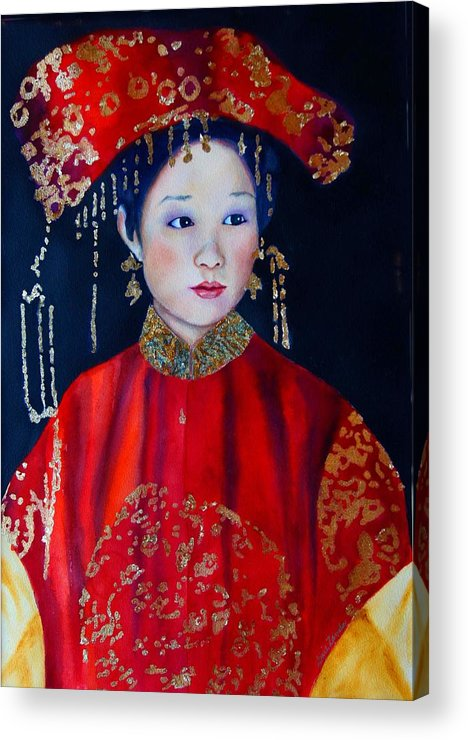 Asian Woman Acrylic Print featuring the painting Celebration In Red by Gail Zavala