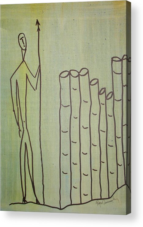 Figures Acrylic Print featuring the painting Celtic Warrior by Roger Cummiskey
