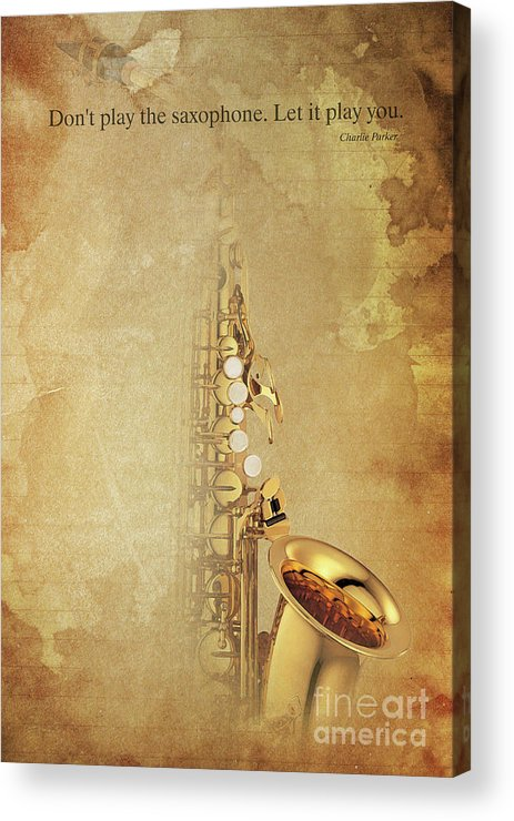 Gift For Musicians Acrylic Print featuring the painting Charlie Parker Saxophone Brown Vintage Poster And Quote, Gift For Musicians by Drawspots Illustrations