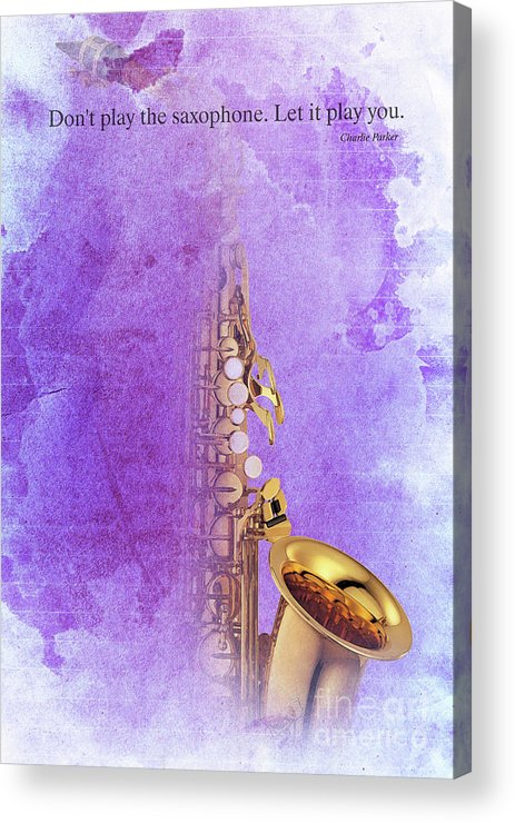 Gift For Musicians Acrylic Print featuring the digital art Charlie Parker Saxophone Purple Vintage Poster And Quote, Gift For Musicians by Drawspots Illustrations