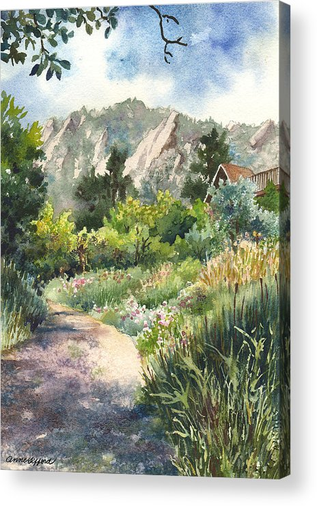 Trail Painting Acrylic Print featuring the painting Chautauqua Morning by Anne Gifford