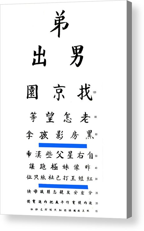 picture about Printable Eye Chart referred to as Chinese Eye Chart Acrylic Print
