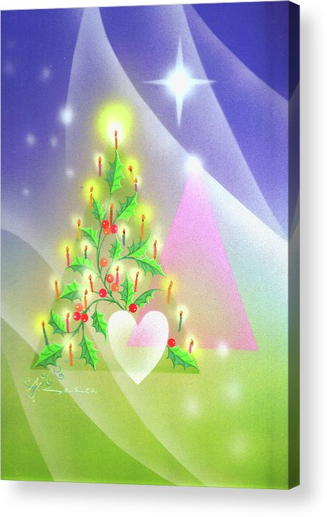 Nativity Acrylic Print featuring the photograph Christmas Tree And Colors by Laura Greco