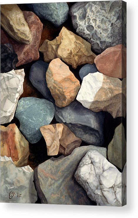 Stones Acrylic Print featuring the painting Common Stone by Craig Gallaway