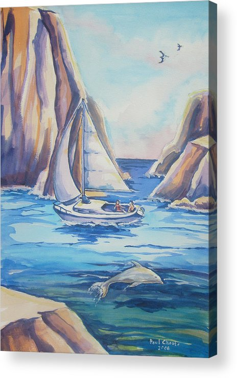 Seascape Acrylic Print featuring the painting Cove Sailing by Paul Choate