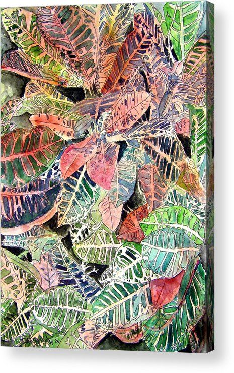 Croton Acrylic Print featuring the painting Croton Tropical Art Print by Derek Mccrea