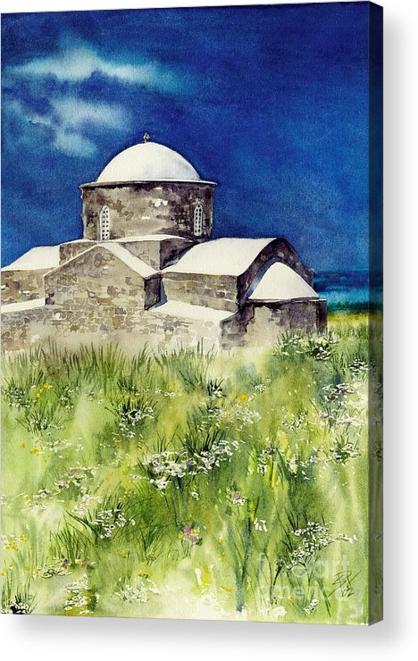 Church Acrylic Print featuring the painting Cyprus The Old Church by Sandra Phryce-Jones