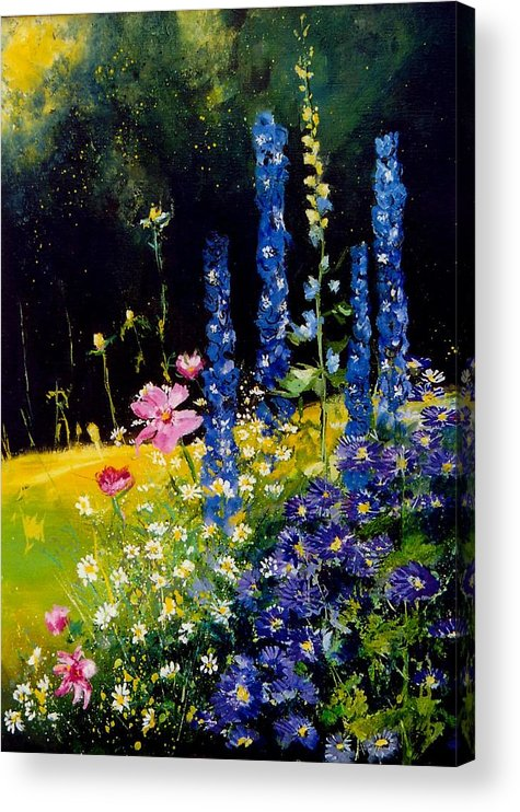 Poppies Acrylic Print featuring the painting Delphiniums by Pol Ledent