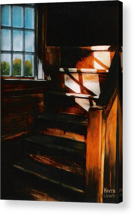 Wooden Stairs Acrylic Print featuring the painting Descending Light by Keith Gantos