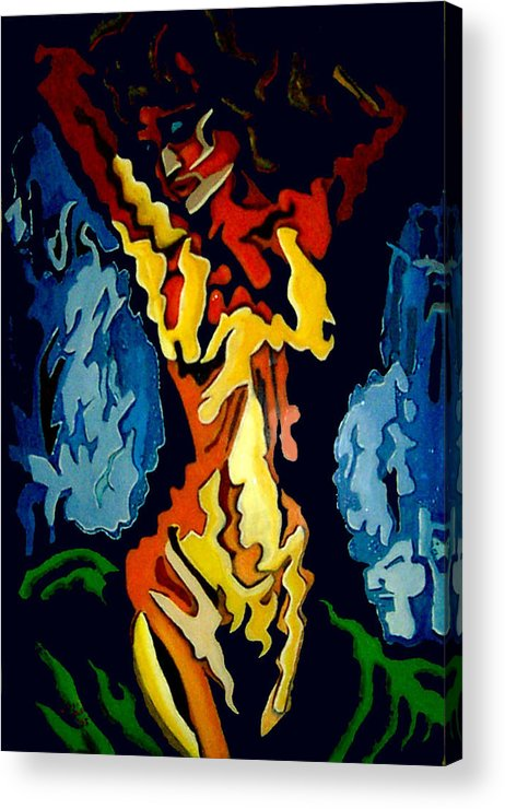 Painting Acrylic Print featuring the painting Desnuda Azul by Elio Lopez