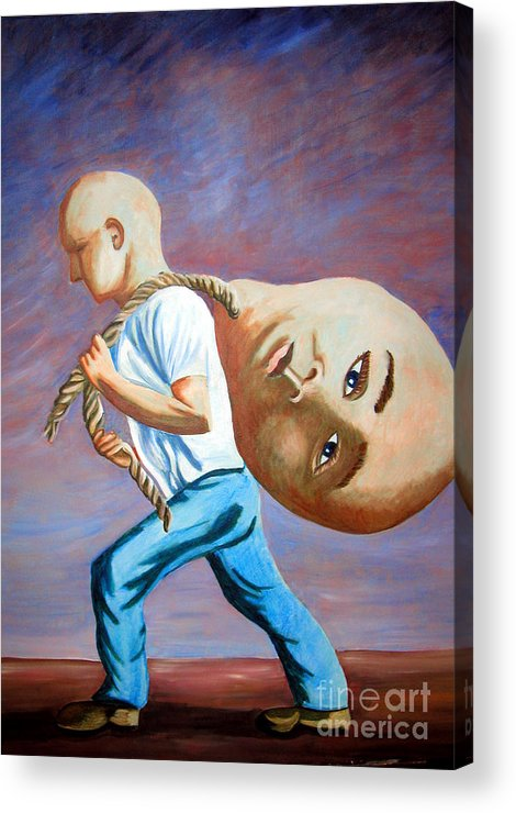 Identity (symbolic Art) Acrylic Print featuring the painting do I have to throw my ego away to find my Self by Tanni Koens