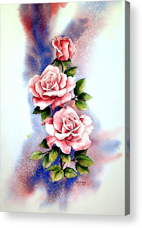 Floral Acrylic Print featuring the painting Dream Roses by Brooke Lyman
