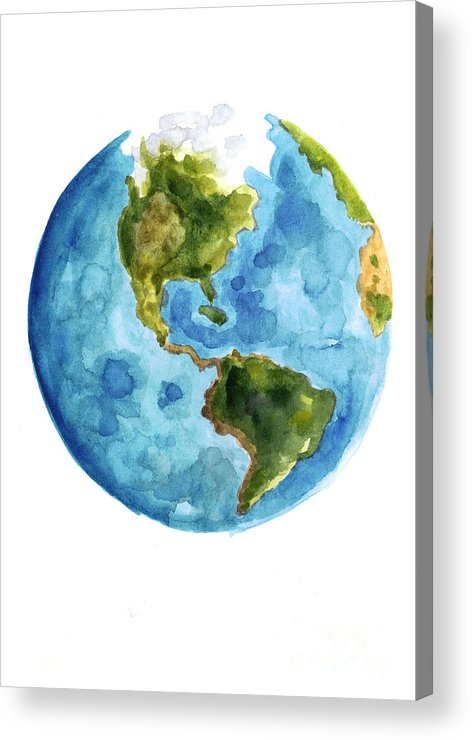 Earth Acrylic Print featuring the painting Earth America Watercolor Poster by Joanna Szmerdt