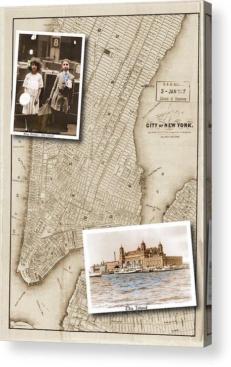 Ellis Island Acrylic Print featuring the digital art Ellis Island Vintage Map Child Immigrants by Karla Beatty